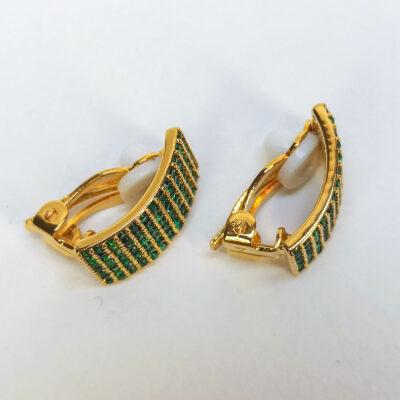 Σκουλαρικια με κλιπ χρυσα πρασινες πετρες