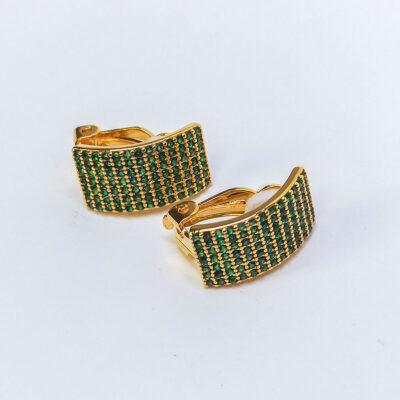 Σκουλαρίκια με κλιπσάκια πρασινες πετρες