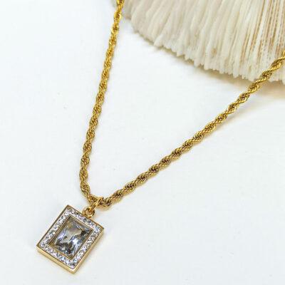 Χρυση Αλυσίδα με τετραγωνή πετρα κρυσταλλο