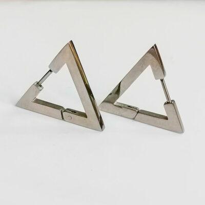 τριγωνο μινιμαλιστικο σκουλαρικι ασημι