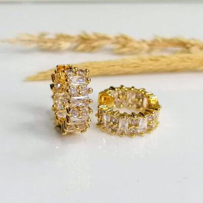 μικρο σκουλαρικι χρυσο κρικακι με διαφανες μικρες πετρες