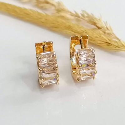 μικρο σκουλαρικι χρυσο κρικακι με διαφανες 4 μικρες πετρες