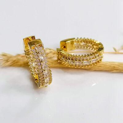 σκουλαρικι χρυσο κρικακια με διαφανες μικρες πετρες