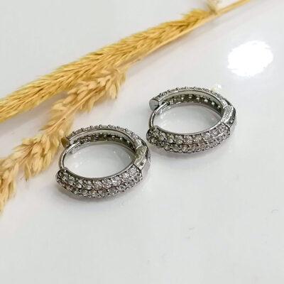 σκουλαρικι ασημι κρικακια με διαφανες μικρες πετρες