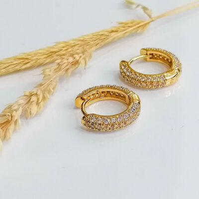σκουλαρικι χρυσα κρικακια με διαφανες μικρες πετρες