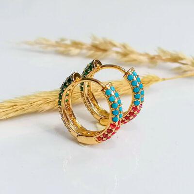 σκουλαρικι χρυσα κρικακια με πετρες 4 χρωματα