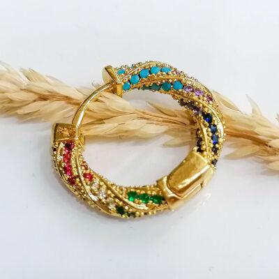 σκουλαρικι χρυσο με μικρες πολυχρωμες πετρες