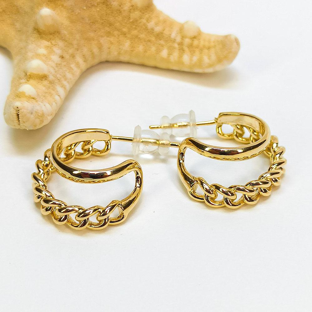 Σκουλαρικια στυλ αλυσιδα χρυσο