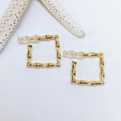 Ατσάλινα σκουλαρίκια κρεμαστά τετράγωνα