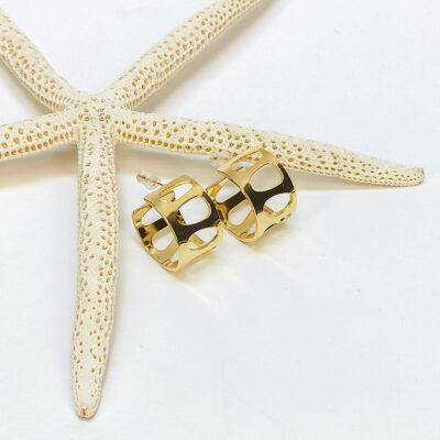 χρυσο σκουλαρικι απο ανοξειδωτο ατσαλι