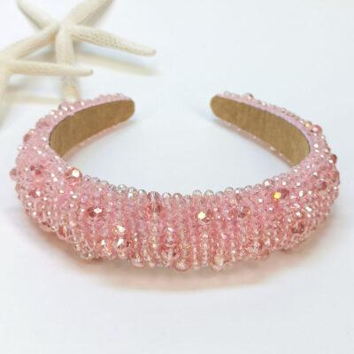 Ροζ Γυναικεία Στέκα φουσκωτή με πέρλες και χάντρες